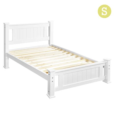 Single Bed White Frame Wooden Bed Frame Pine Wood Single White
