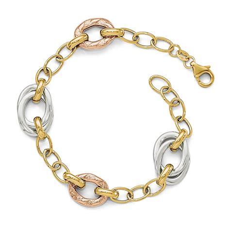 tri color gold bracelet 14k tri color gold polished textured fancy link bracelet