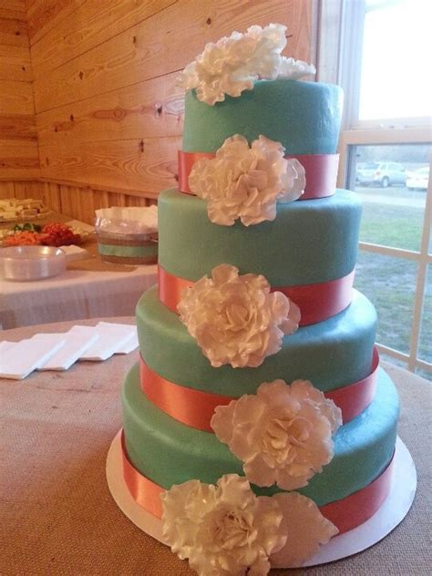 Tiffany blue and coral wedding cake   wedding ideas