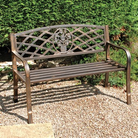 small metal garden bench greenhurst coalbrookdale 2 seater bench dark copper on sale