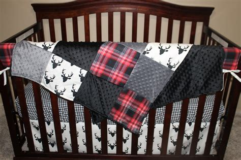 Black And White Boy Crib Bedding Baby Crib Bedding Black Buck Deer Lodge Black Plaid