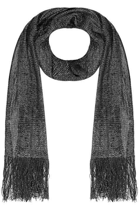 black sparkle mesh scarf with tassels