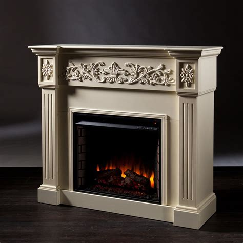 Ivory Electric Fireplace by 44 5 Quot Calvert Carved Ivory Electric Fireplace Fe9279
