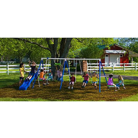 metal swing sets at walmart flexible flyer fantastic playground metal swing set