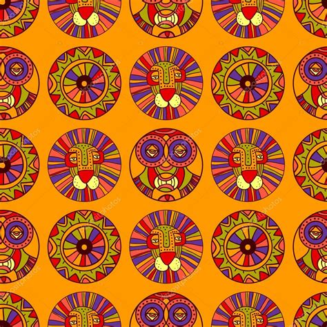 cute africa pattern seamless african pattern with lion african mask sun