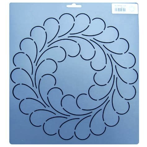 342 10 5 inch diameter feather circle block quilt stencil