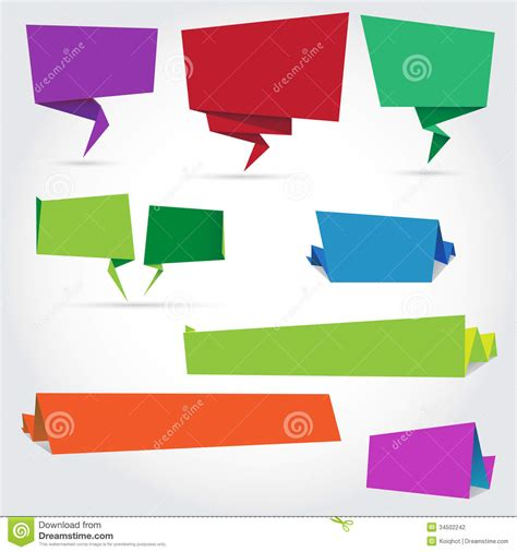 origami banner vector origami speech bubbles and banners stock photography