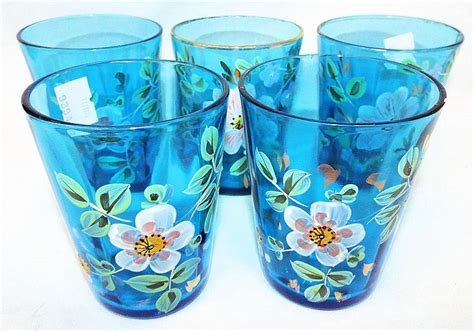 decorative glass cups 5 enamel decorated glass cups