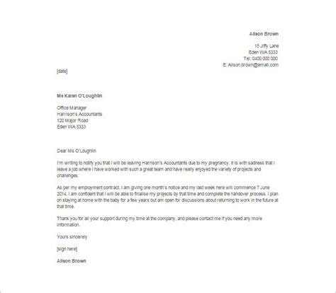 sample of a resignation letter 9 resignation letter templates free sample example