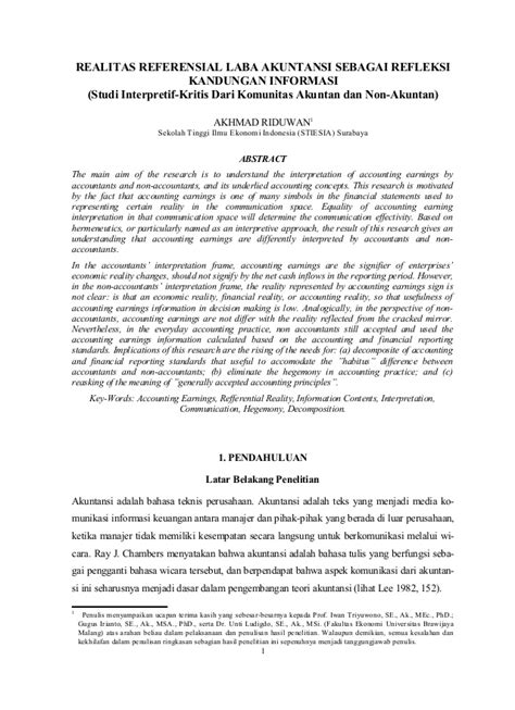 Teori Akutansi Pendekatan Konsep Dan Analisis Hery Se realitas referensial laba akuntansi sebagai refleksi kandungan inform