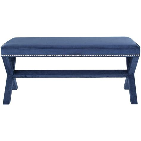 navy blue bench pri banquette upholstered fabric bench in blue ds 2282 400 the home depot