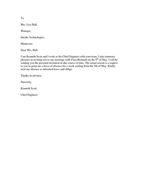 Format Application Letter For Leave | marriage leave letter format best template collection