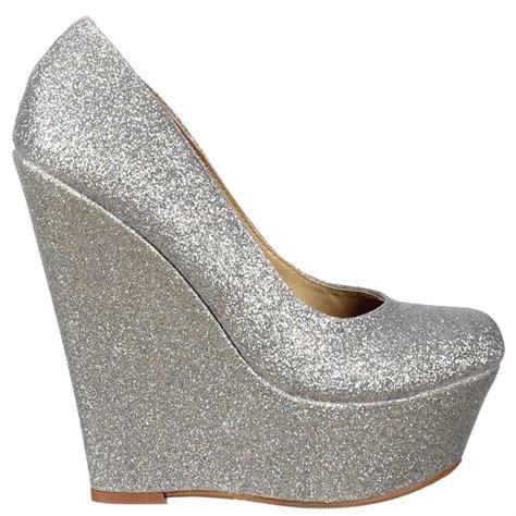 silver wedges shoes shoekandi glitter wedge platform shoes silver glitter