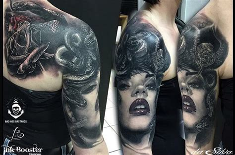 realistic medusa tattoo on shoulder best tattoo ideas