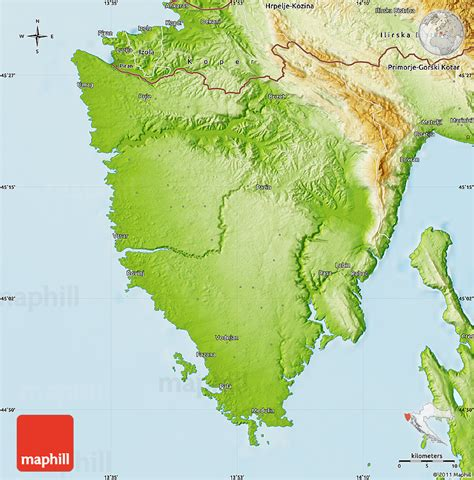 physical map of croatia physical map of istra