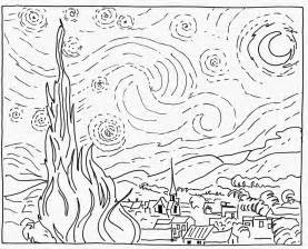 coloring page gogh starry starry by vincent gough mini masterpiece with