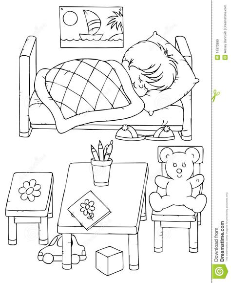 bedroom for coloring sleep coloring pages sleeping boy royalty free stock