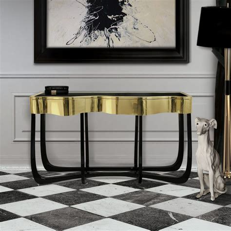 black and gold table top black and gold console tables for your interior