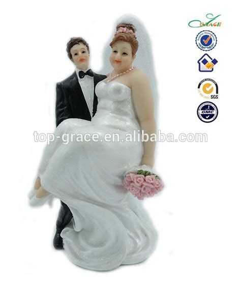 Polyresin fat bride and thin groom funny cake toppers