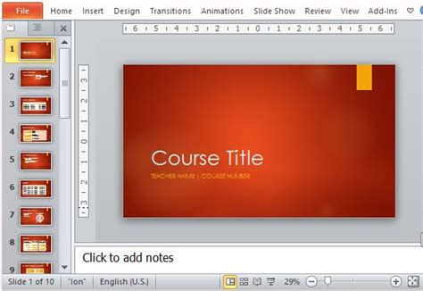 Academic Course Template For Powerpoint College Powerpoint Templates