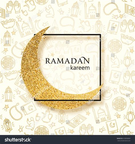 Moon Invitation Card Template by Ramadan Kareem Illustration Golden Paper Moon Stock Vector
