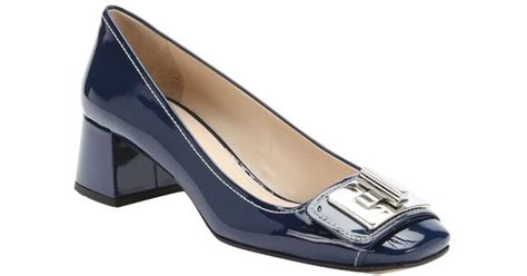Warehouse Patent Twist Lock Shopper by Prada Royal Blue Patent Leather Twistlock Detail Pumps In