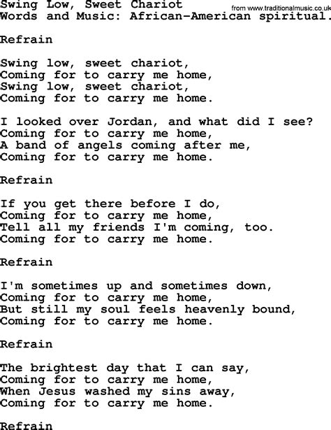 lyrics of swing low sweet chariot funeral hymn swing low sweet chariot lyrics and pdf