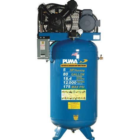 belt drive stationary vertical air compressor 80 gallon vertical 5 hp 18 4 cfm model