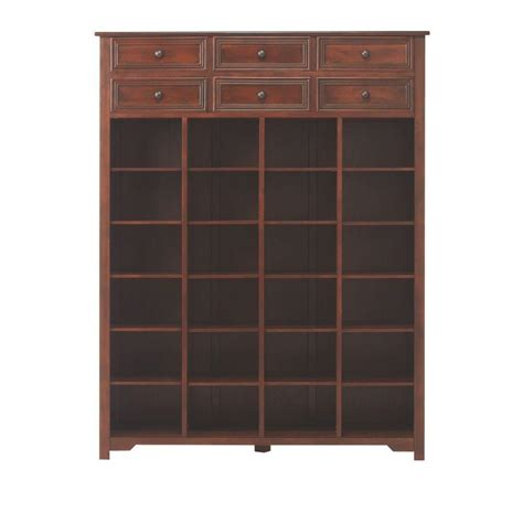 shoe cabinet with storage drawer home decorators collection oxford 54 in h chestnut shoe