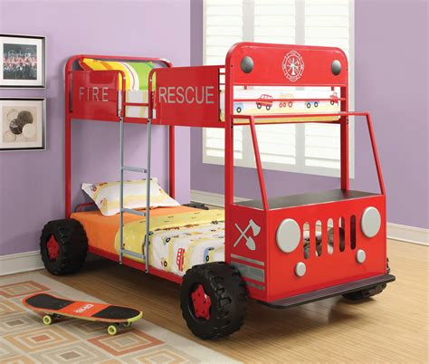 cers with bunk beds denley fire rescue car bunk bed from coaster 460026 coleman furniture