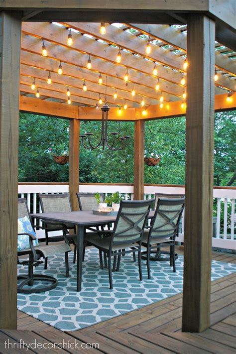 Our Beautiful Outdoor Dining Room From Thrifty Decor Chick Lights For Pergola