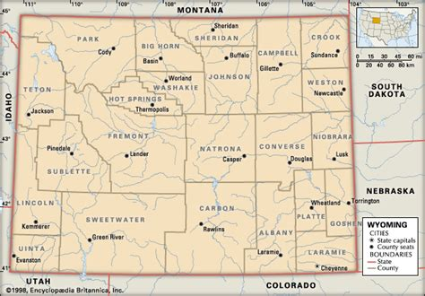 political map of wyoming wyoming political features encyclopedia