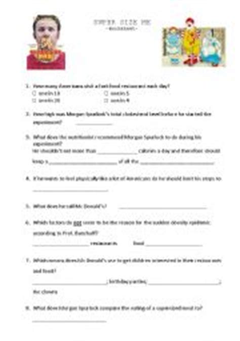 Supersize Me Worksheet Answers by Esl Worksheets For Adults Size Me