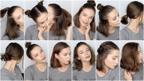 easy hairstyles for short hair for school youtube 12 easy hairstyles for short hair youtube