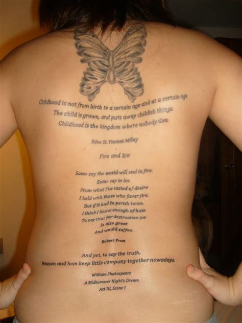 tattoo poems wonderful poems with butterfly on back