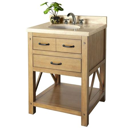 Pine Bathroom Vanities Foremost Avondale 25 In Vanity In Weathered Pine With Marble Vanity Top In Crema Marfil