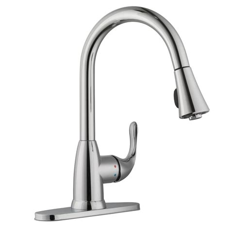 glacier bay pull kitchen faucet glacier bay market single handle pull sprayer kitchen faucet in polished chrome hd67551