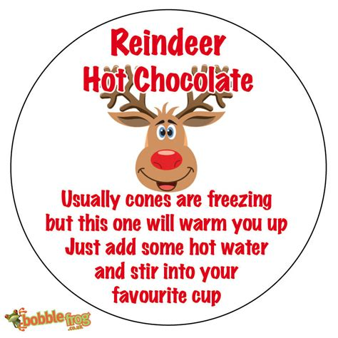 free printable reindeer hot chocolate 48 x christmas reindeer hot chocolate poem sticker
