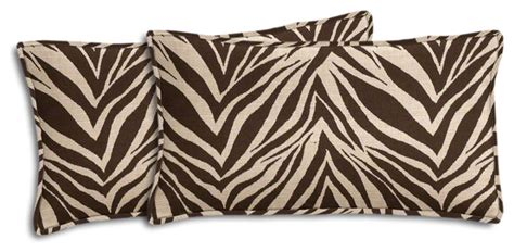 Outdoor Zebra Cushions Brown And Beige Zebra Outdoor Lumbar Pillow Set