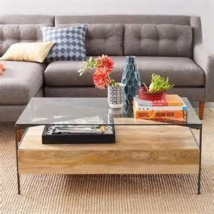 glass topped industrial storage coffee table west elm