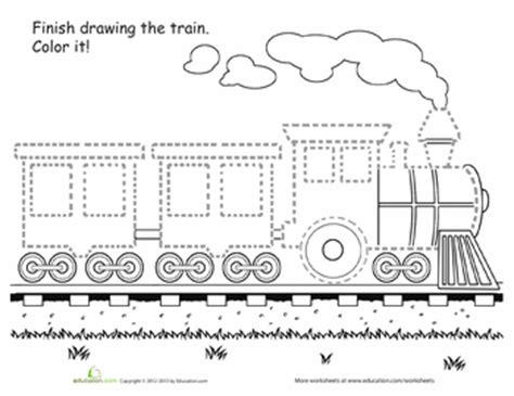 printable preschool train activities train tracing worksheets