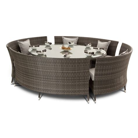 Gray wicker dining room furniture set with 8 seater fan bench