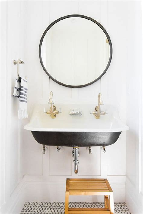 small round bathroom mirrors small bathroom with round black mirror and trough sink
