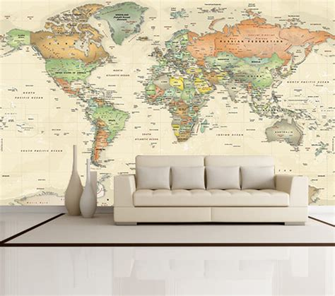 antique oceans world political map wall mural miller