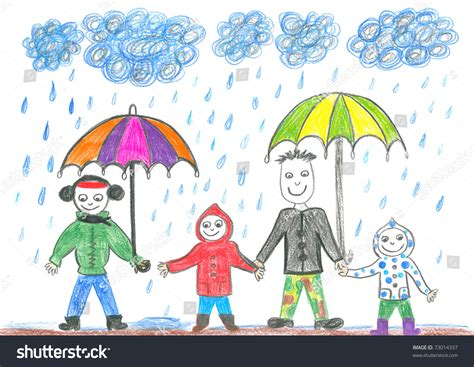 child s drawing happy family with umbrellas