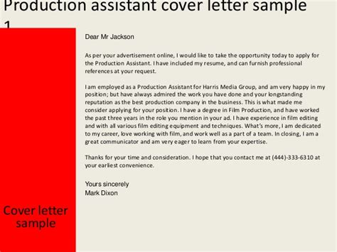 Cover Letter For Production Assistant production assistant cover letter