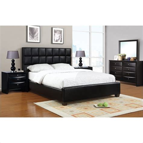 poundex 5 faux leather size bedroom set in black y926101