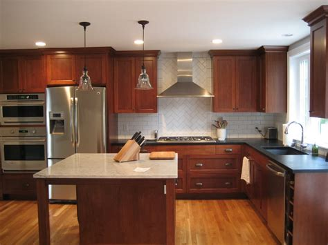 cherry oak cabinets kitchen cherry cabinets with white or red oak floor