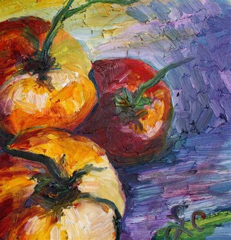 Carolina Country Kitchen - heirloom tomatoes still life impressionist original oil painting by ginette callaway the art