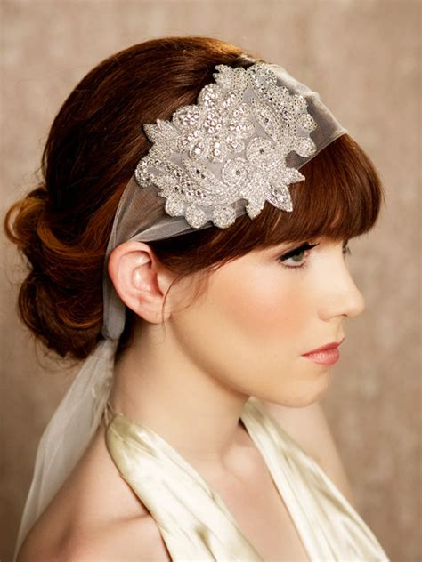 how to wrap wedding hair great gatsby crystal headband tulle headband veil head wrap